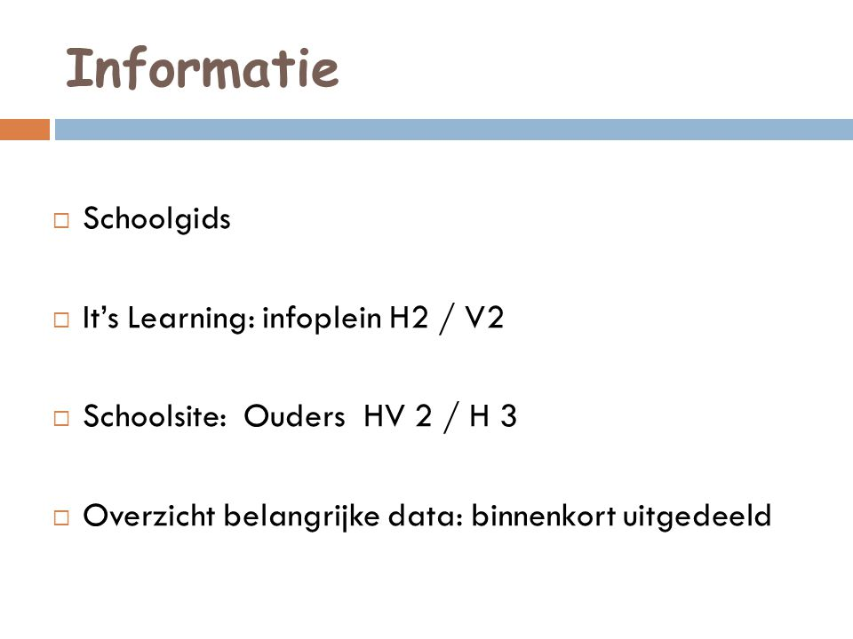 Informatie Schoolgids It's Learning: infoplein H2 / V2