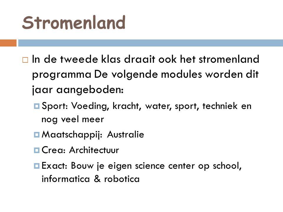 Stromenland In de tweede klas draait ook het stromenland programma De volgende modules worden dit jaar aangeboden: