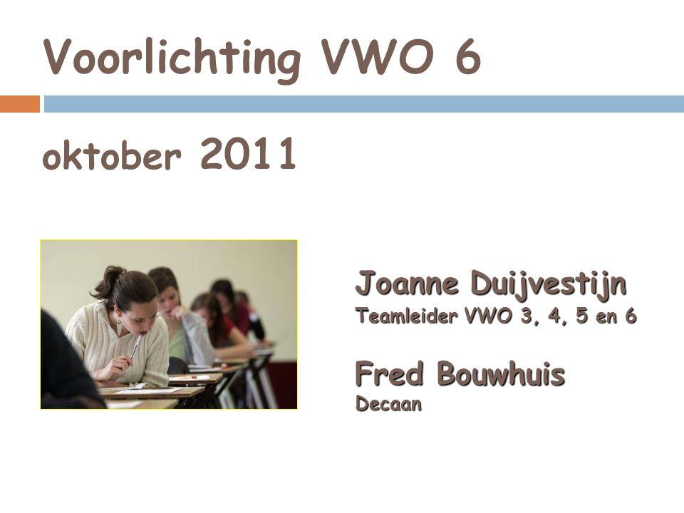 Voorlichting VWO 6 oktober 2011