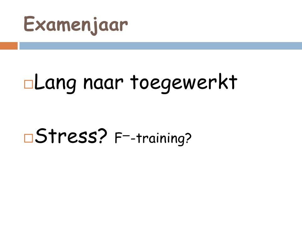 Examenjaar Lang naar toegewerkt Stress F—-training