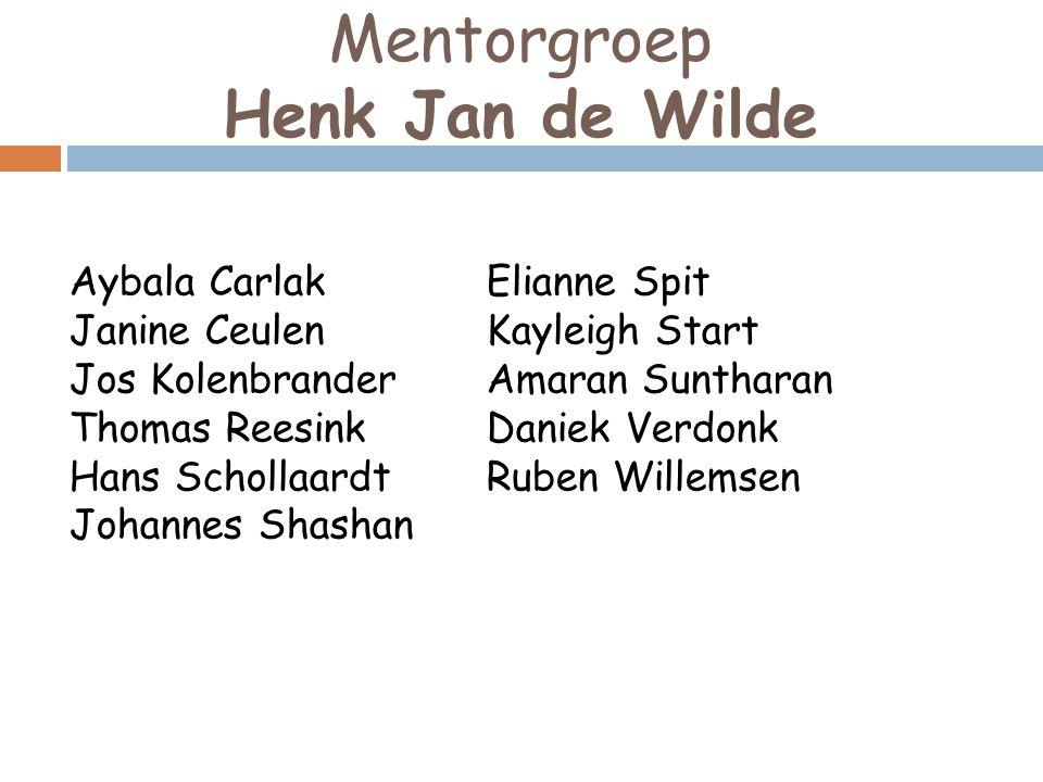 Mentorgroep Henk Jan de Wilde Aybala Carlak Elianne Spit Janine Ceulen
