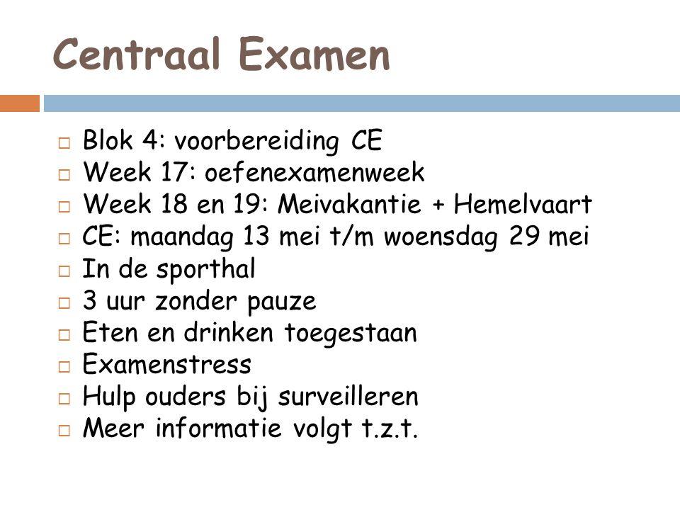 Centraal Examen Blok 4: voorbereiding CE Week 17: oefenexamenweek