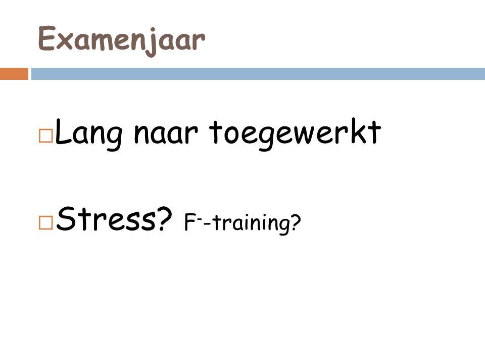 Examenjaar Lang naar toegewerkt Stress F--training