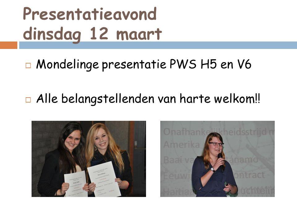 Presentatieavond dinsdag 12 maart