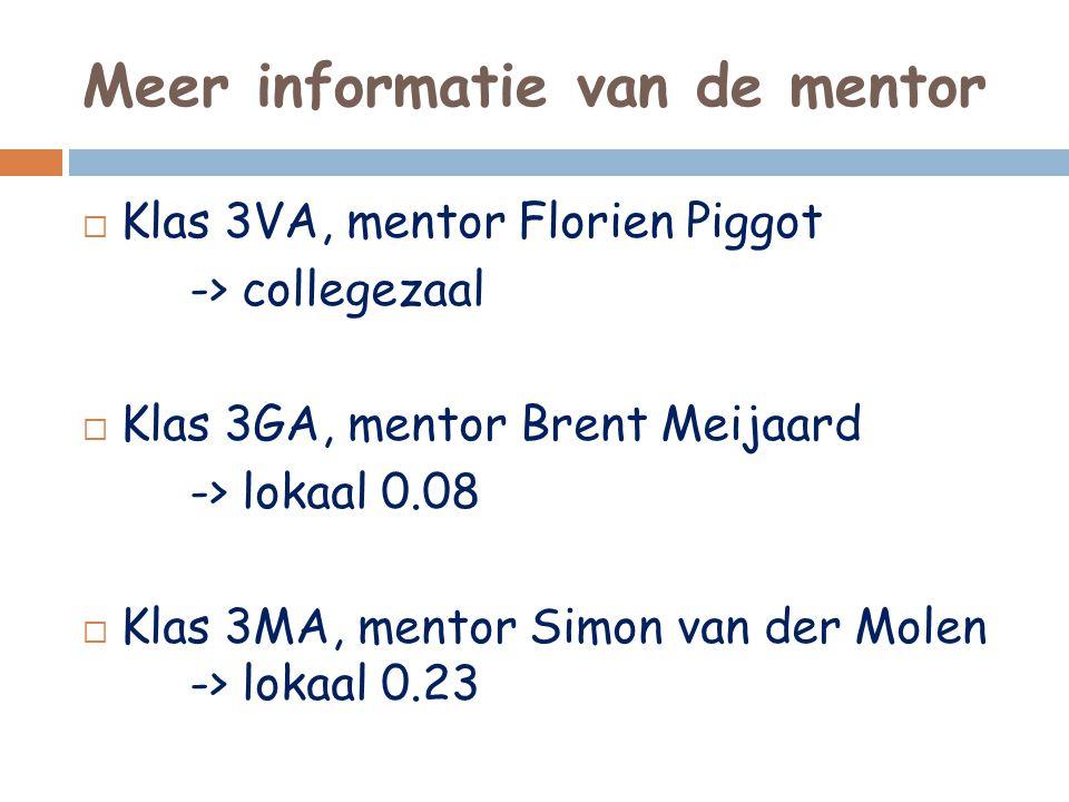 Meer informatie van de mentor