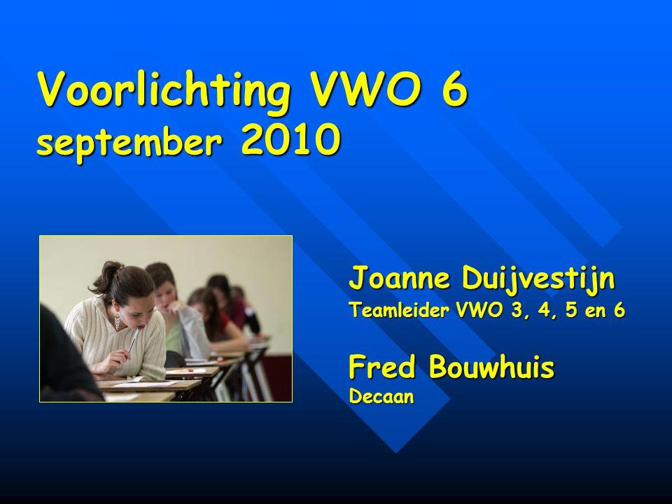 Voorlichting VWO 6 september 2010