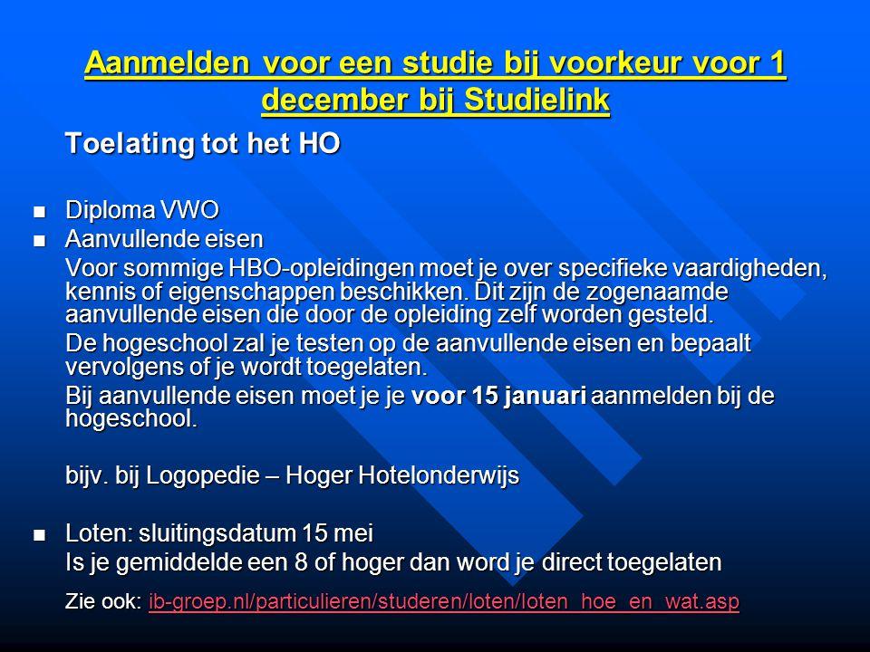 Aanmelden voor een studie bij voorkeur voor 1 december bij Studielink