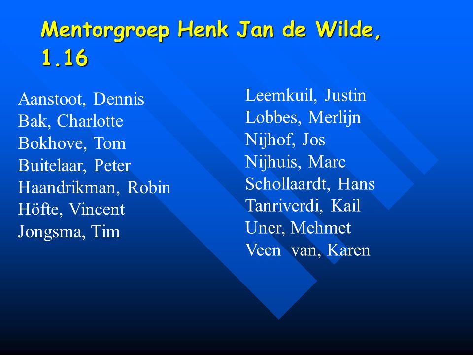 Mentorgroep Henk Jan de Wilde, 1.16