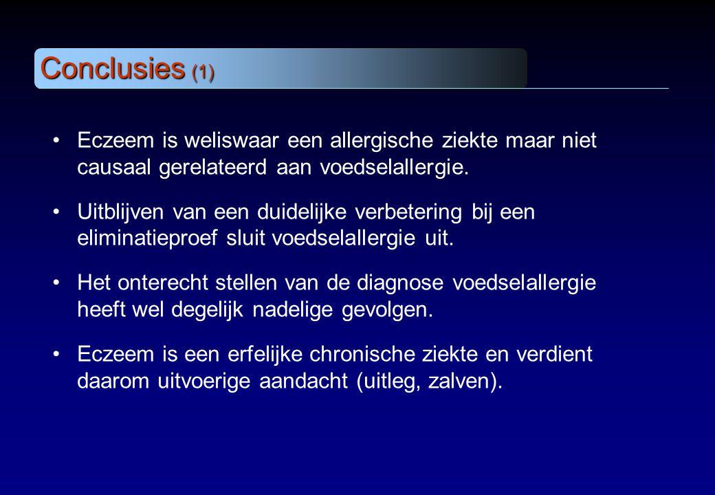 Conclusies (1) Eczeem is weliswaar een allergische ziekte maar niet causaal gerelateerd aan voedselallergie.