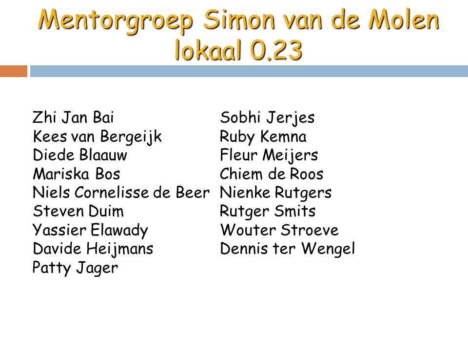 Mentorgroep Simon van de Molen lokaal 0.23