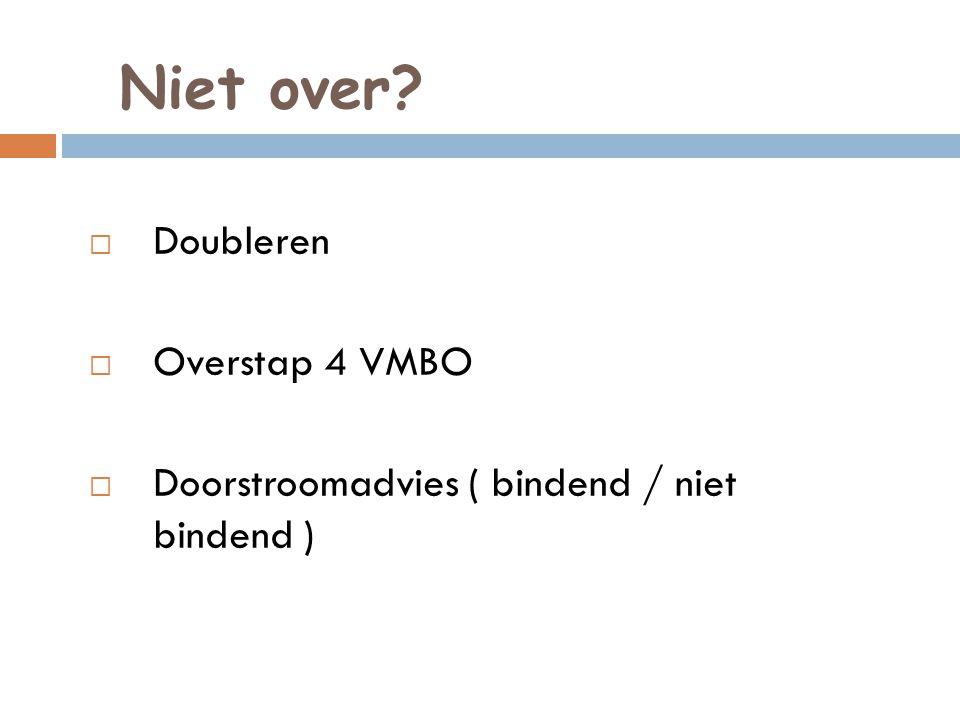 Niet over Doubleren Overstap 4 VMBO