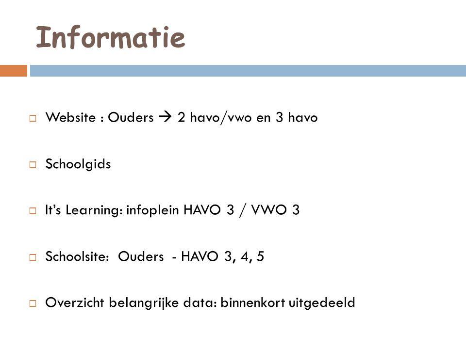 Informatie Website : Ouders  2 havo/vwo en 3 havo Schoolgids