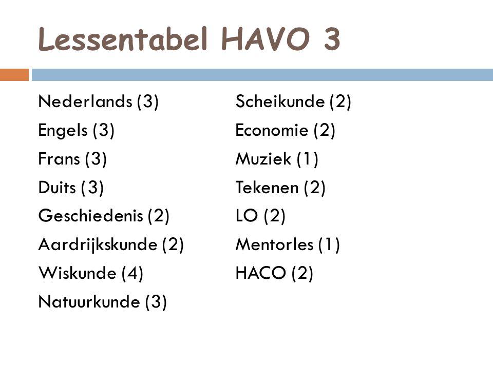 Lessentabel HAVO 3
