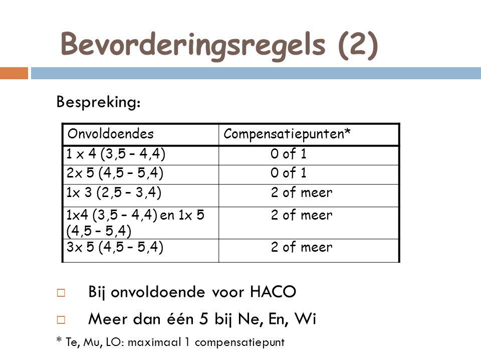 Bevorderingsregels (2)