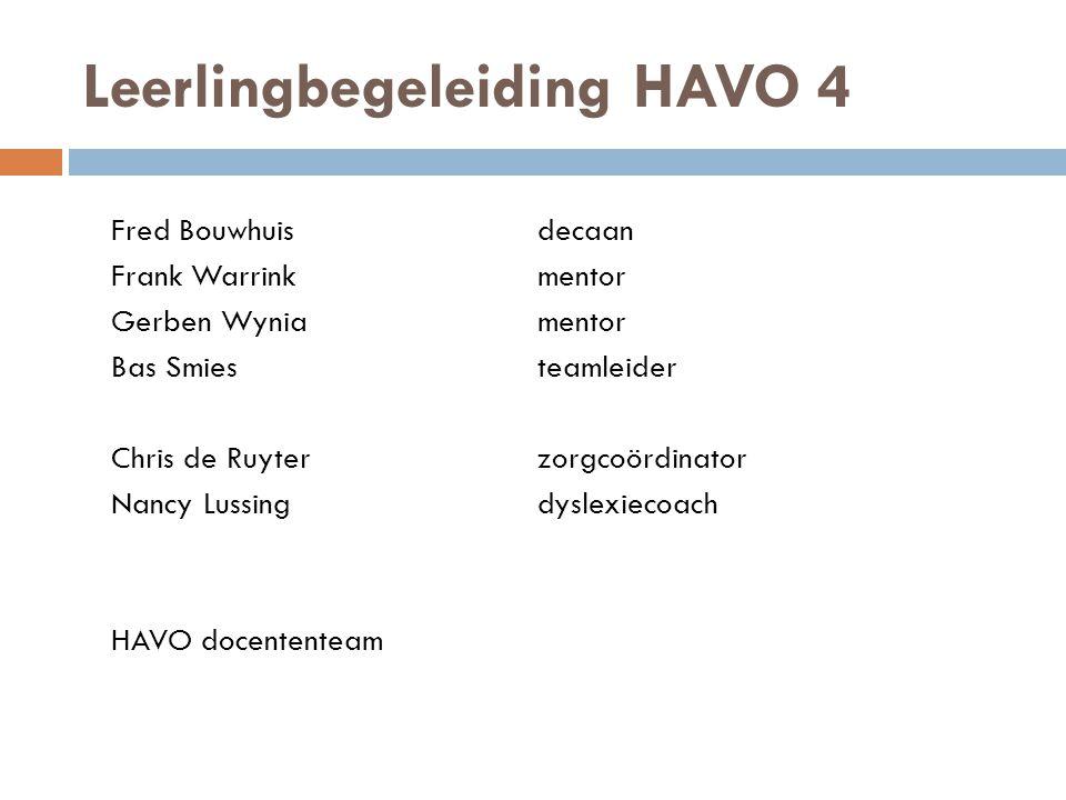 Leerlingbegeleiding HAVO 4