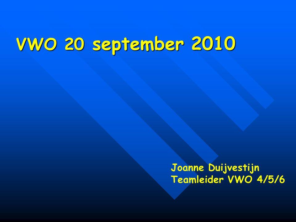 VWO 20 september 2010 Joanne Duijvestijn Teamleider VWO 4/5/6