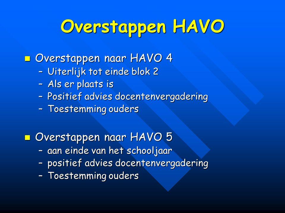 Overstappen HAVO Overstappen naar HAVO 4 Overstappen naar HAVO 5