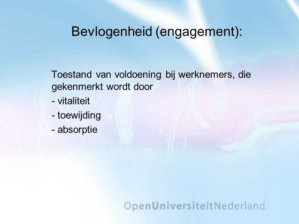 Bevlogenheid (engagement):