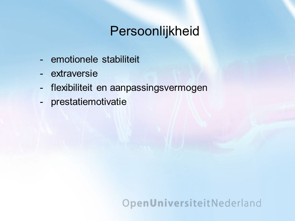 Persoonlijkheid emotionele stabiliteit extraversie