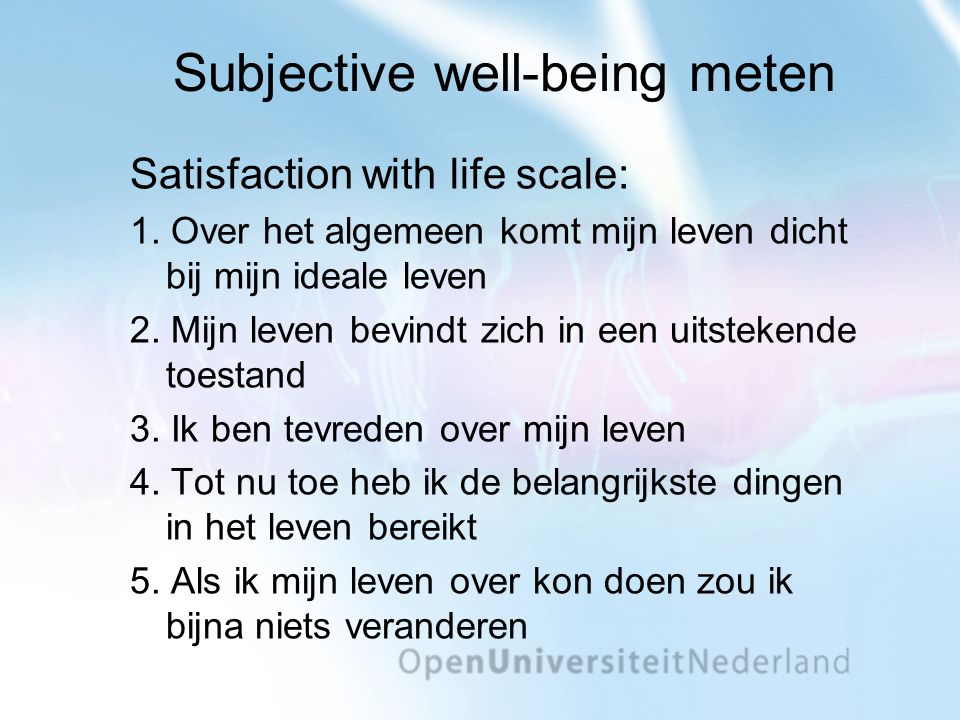 Subjective well-being meten