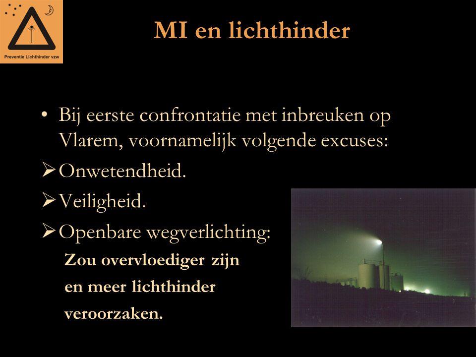 MI en lichthinder Bij eerste confrontatie met inbreuken op Vlarem, voornamelijk volgende excuses: Onwetendheid.