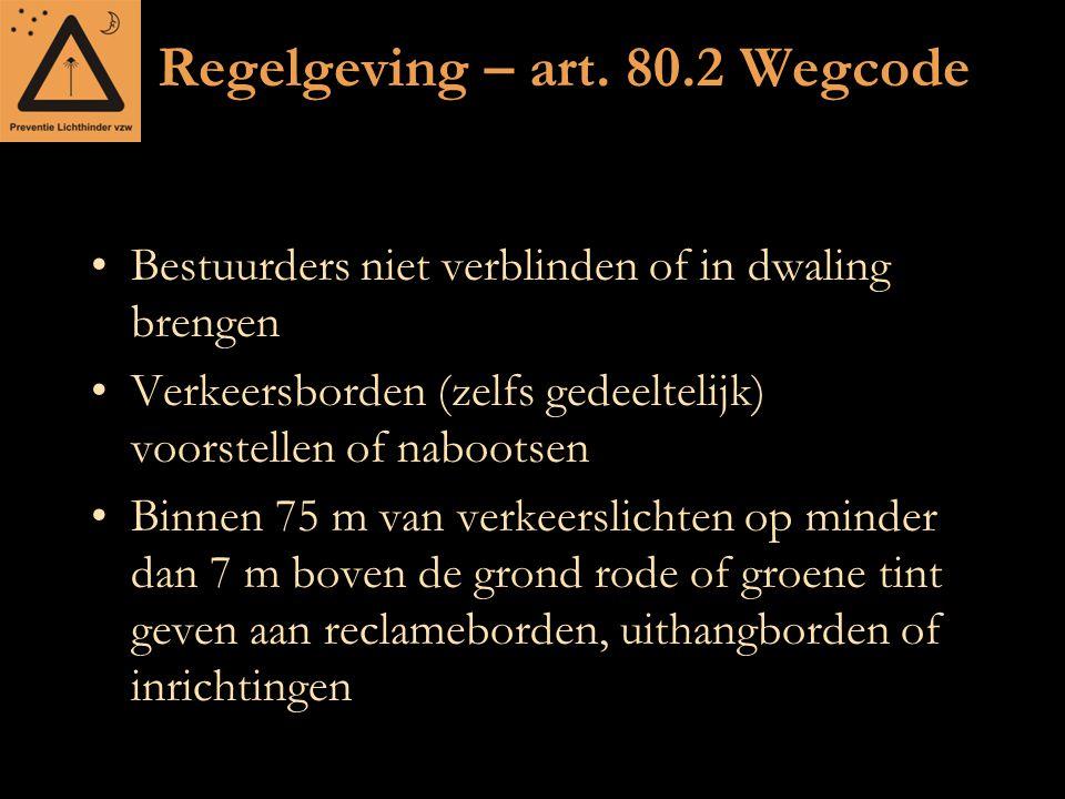 Regelgeving – art. 80.2 Wegcode