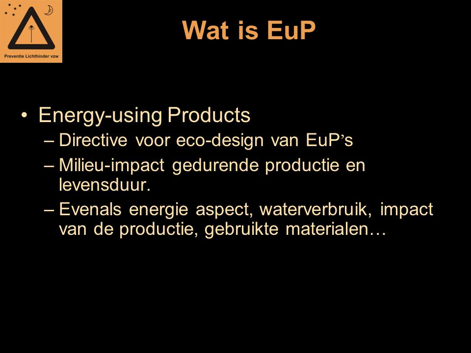 Wat is EuP Energy-using Products Directive voor eco-design van EuP's