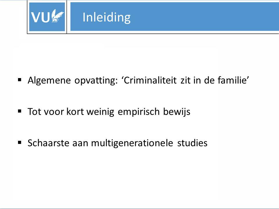 Inleiding Algemene opvatting: 'Criminaliteit zit in de familie'