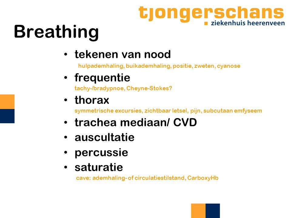 Breathing tekenen van nood frequentie thorax trachea mediaan/ CVD