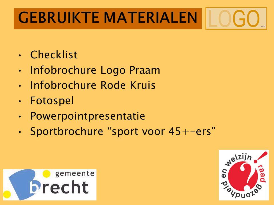GEBRUIKTE MATERIALEN Checklist Infobrochure Logo Praam