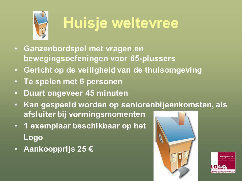 Huisje weltevree Ganzenbordspel met vragen en bewegingsoefeningen voor 65-plussers. Gericht op de veiligheid van de thuisomgeving.