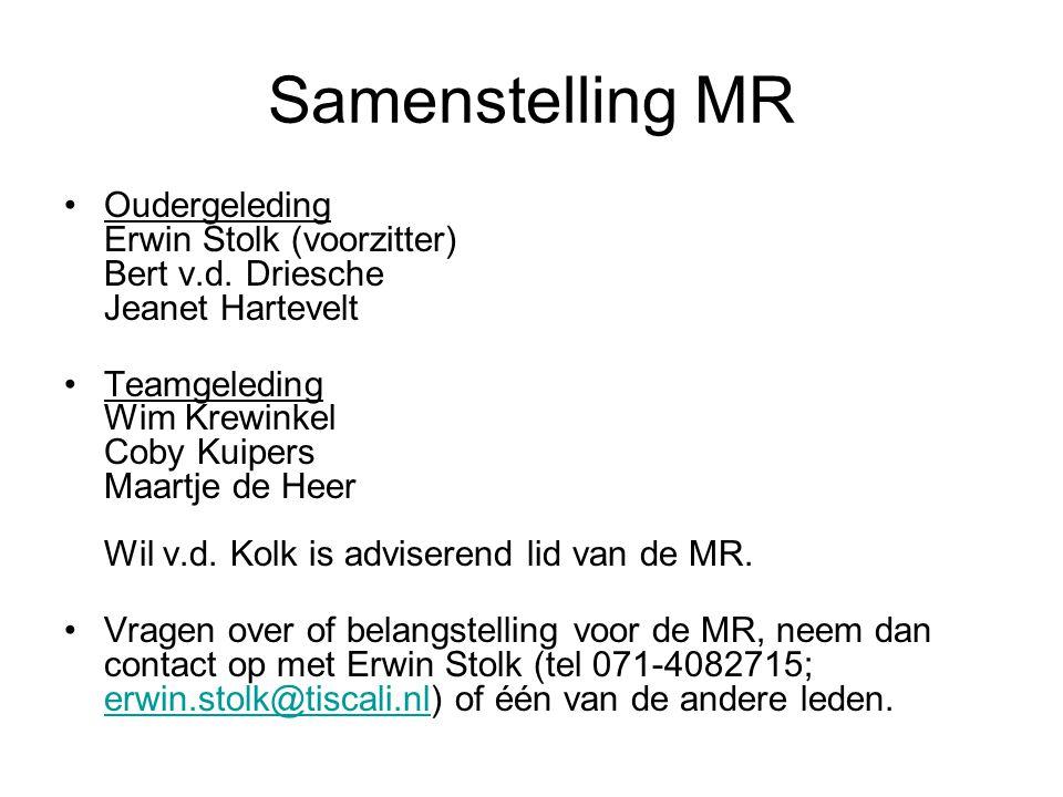 Samenstelling MR Oudergeleding Erwin Stolk (voorzitter) Bert v.d. Driesche Jeanet Hartevelt.