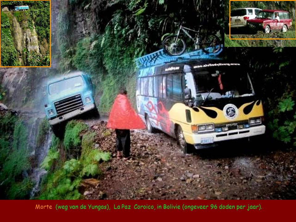 Morte (weg van de Yungas), La Paz Coroico, in Bolivie (ongeveer 96 doden per jaar).