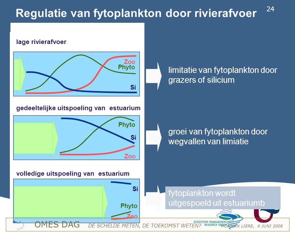 Regulatie van fytoplankton door rivierafvoer