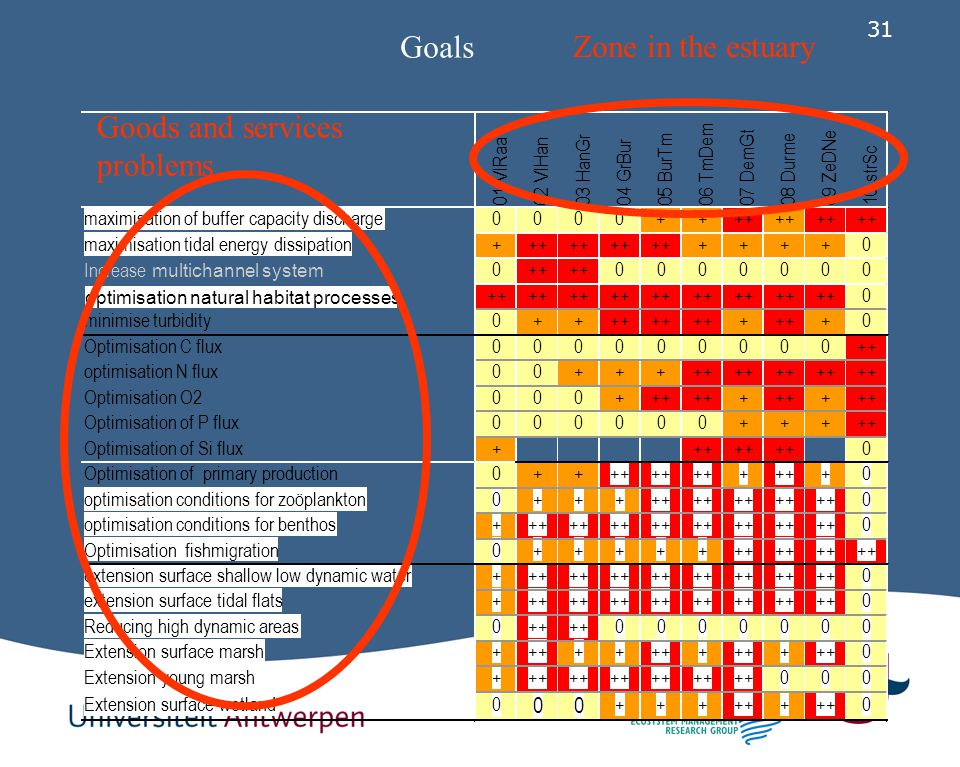 Goals Zone in the estuary Goods and services problems ++ +