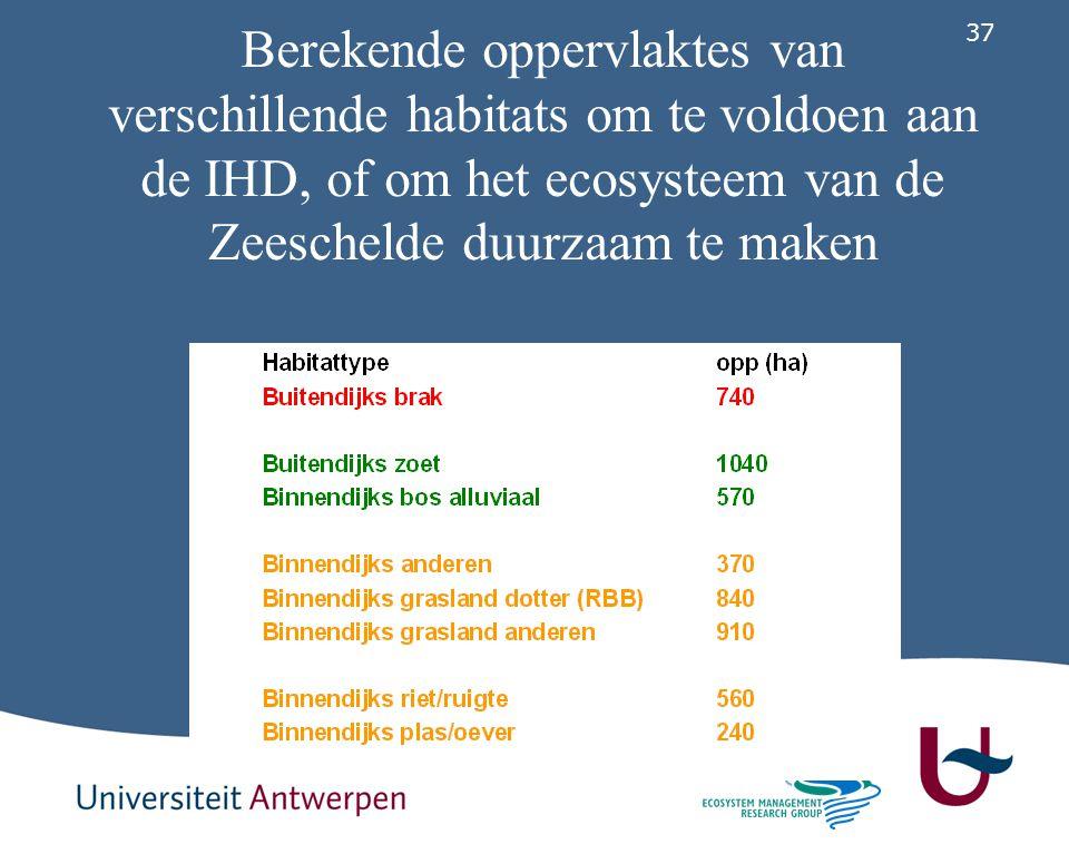 Berekende oppervlaktes van verschillende habitats om te voldoen aan de IHD, of om het ecosysteem van de Zeeschelde duurzaam te maken