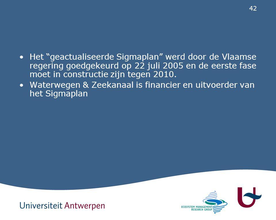 Het geactualiseerde Sigmaplan werd door de Vlaamse regering goedgekeurd op 22 juli 2005 en de eerste fase moet in constructie zijn tegen 2010.