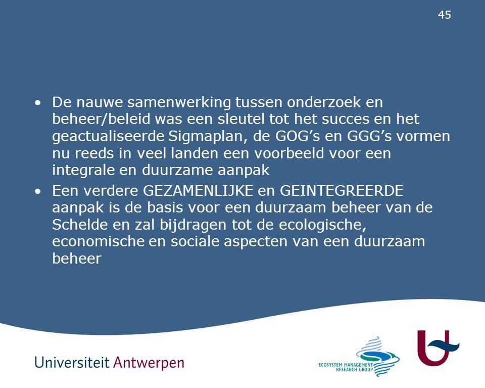 De nauwe samenwerking tussen onderzoek en beheer/beleid was een sleutel tot het succes en het geactualiseerde Sigmaplan, de GOG's en GGG's vormen nu reeds in veel landen een voorbeeld voor een integrale en duurzame aanpak