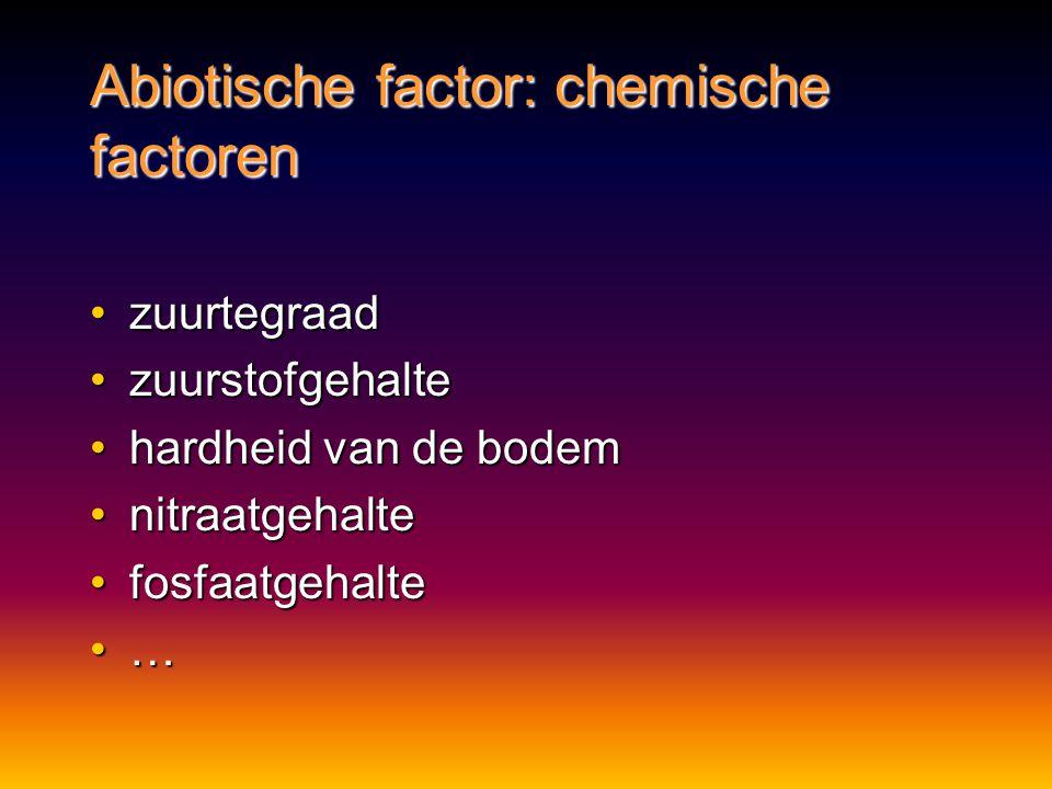 Abiotische factor: chemische factoren