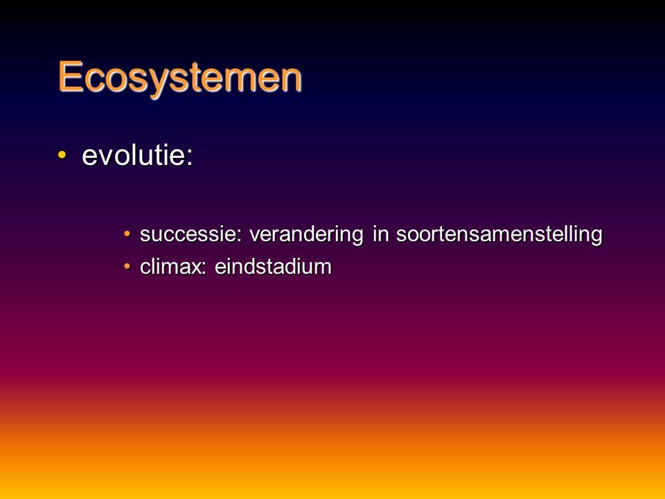 Ecosystemen evolutie: successie: verandering in soortensamenstelling