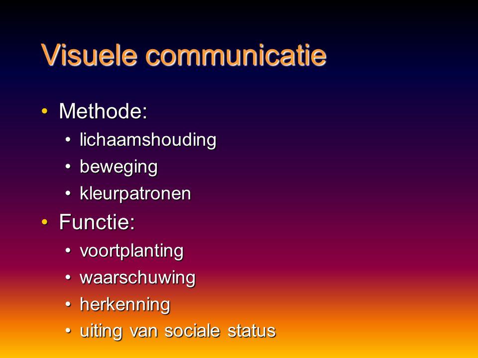 Visuele communicatie Methode: Functie: lichaamshouding beweging
