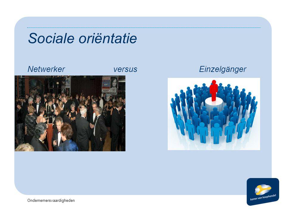 Sociale oriëntatie Netwerker versus Einzelgänger Koptekst Datum
