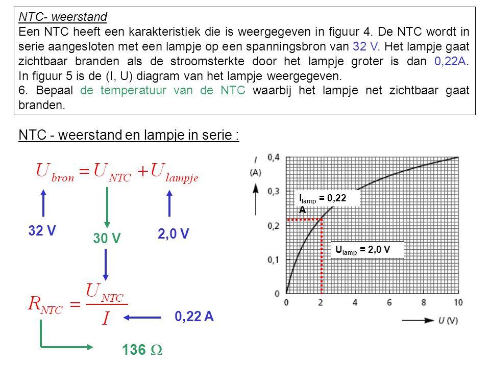 136 W NTC - weerstand en lampje in serie : 32 V 2,0 V 30 V 0,22 A