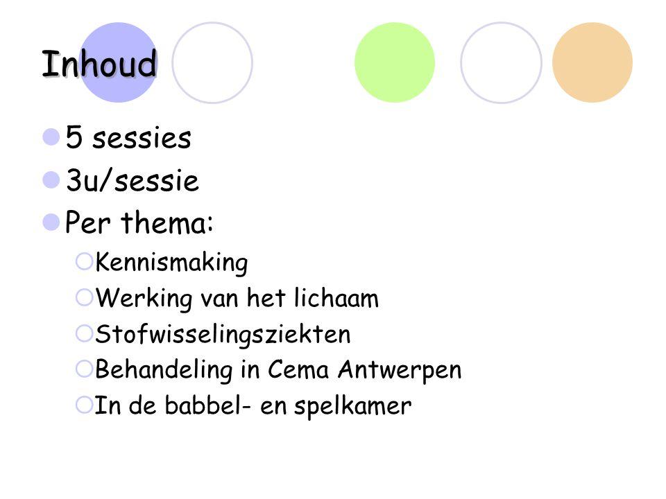 Inhoud 5 sessies 3u/sessie Per thema: Kennismaking