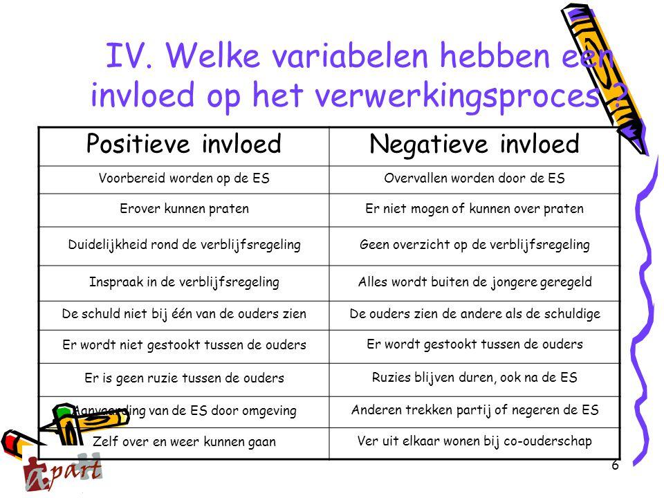 IV. Welke variabelen hebben een invloed op het verwerkingsproces