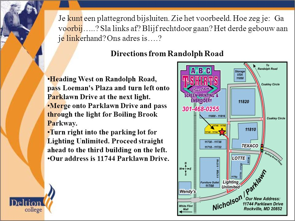 Directions from Randolph Road