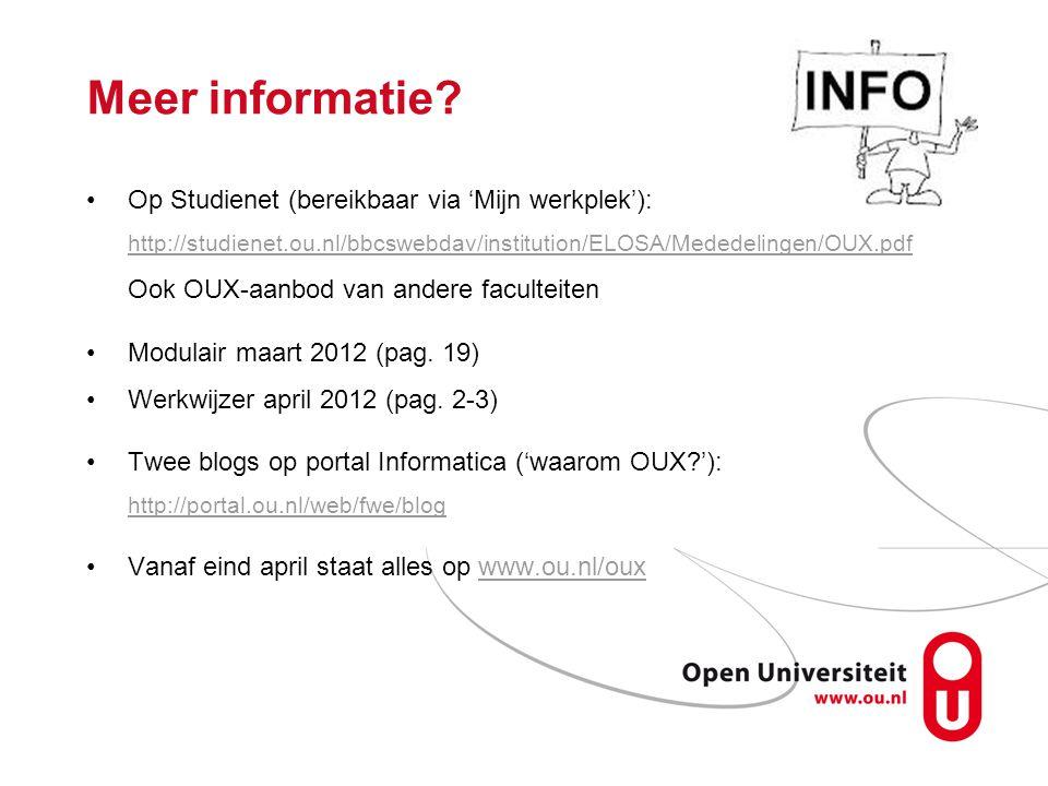 Meer informatie Op Studienet (bereikbaar via 'Mijn werkplek'):