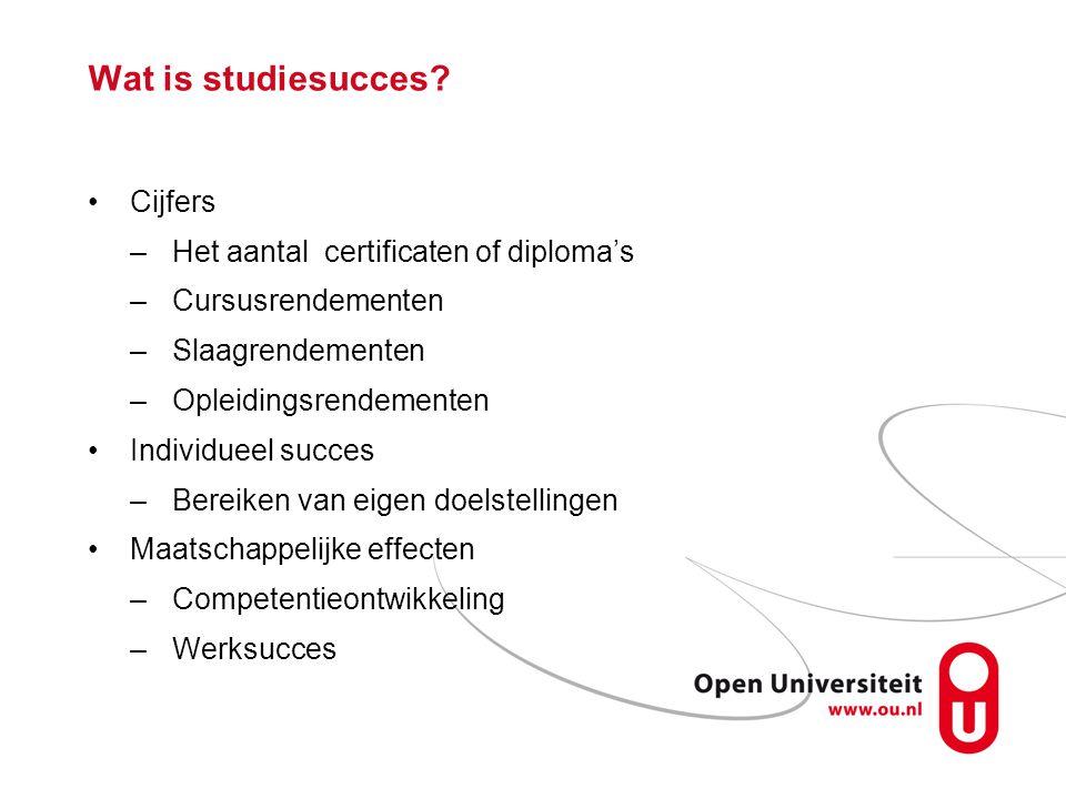Wat is studiesucces Cijfers Het aantal certificaten of diploma's