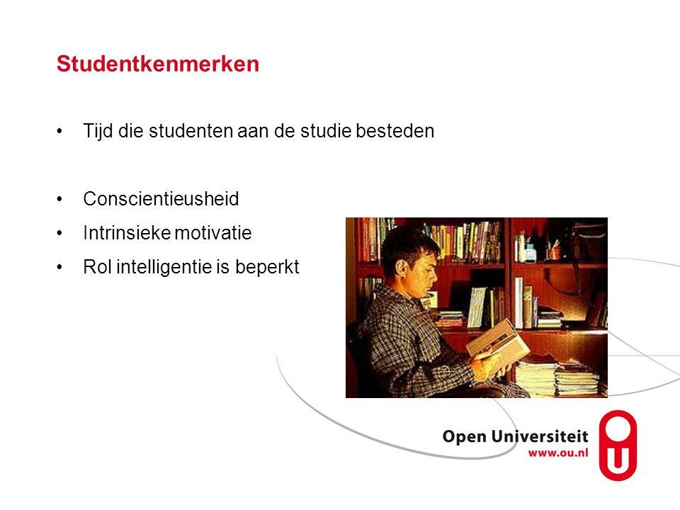 Studentkenmerken Tijd die studenten aan de studie besteden