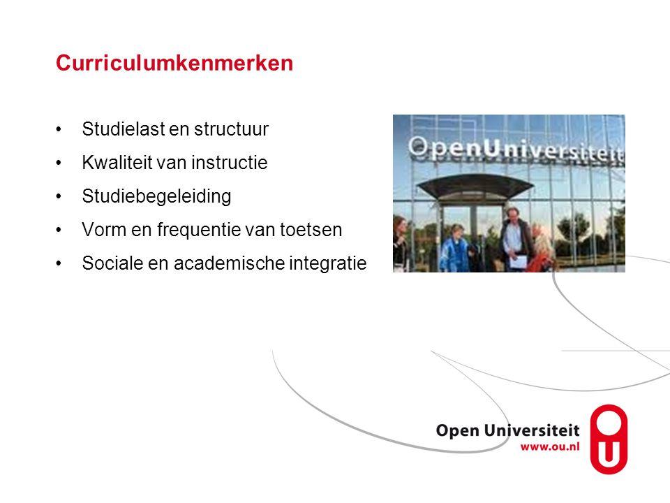 Curriculumkenmerken Studielast en structuur Kwaliteit van instructie